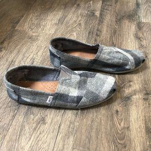 Men's Fleece Lines Charcoal Plaid Toms